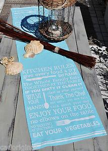 """BLAUER table coureur avec Blanc texte, """"Kitchen rules"""", 150x40 CM, présent, NEUF  </span>"""
