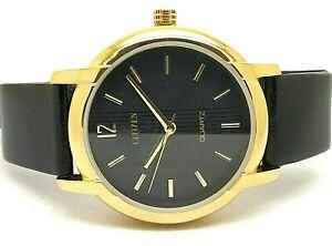citizen-quartz-gold-plated-black-dial-men-039-s-Japan-made-wrist-watch-run-order