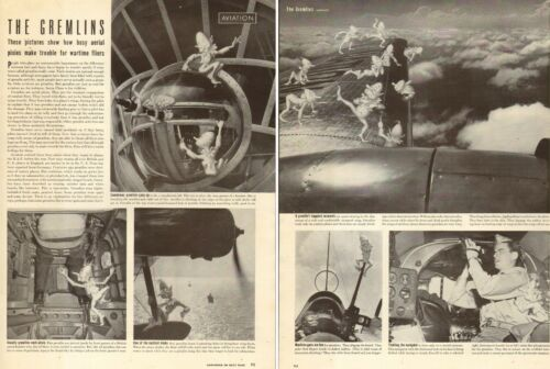 1944 WW2 article GREMLINS Aerial Pixies plague US Warplanes, Cute! 111717