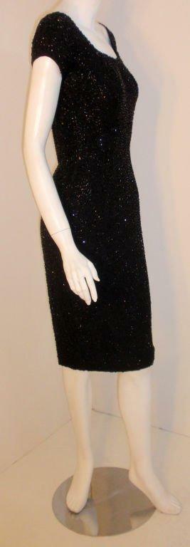 CEIL CHAPMAN 1960s Black Hand Beaded Cocktail Dre… - image 3