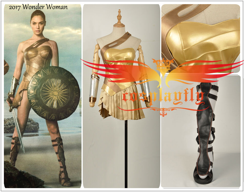 Justice League - 2017 Wonder Woman Diana Prince Golden Cosplay Costume + Shoes