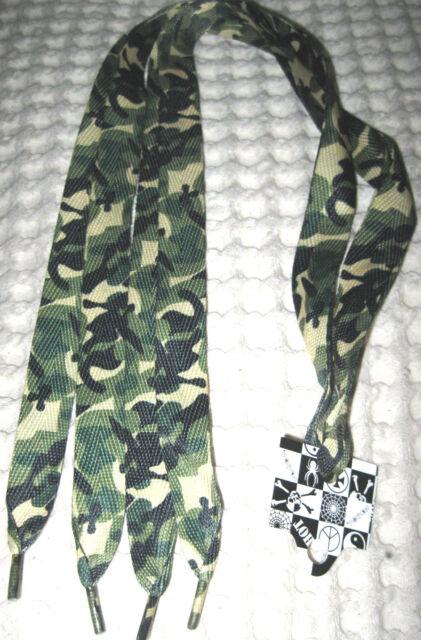 Premium Flat Green Camo Camouflage Design Rockabilly Punk Shoe laces Shoelaces