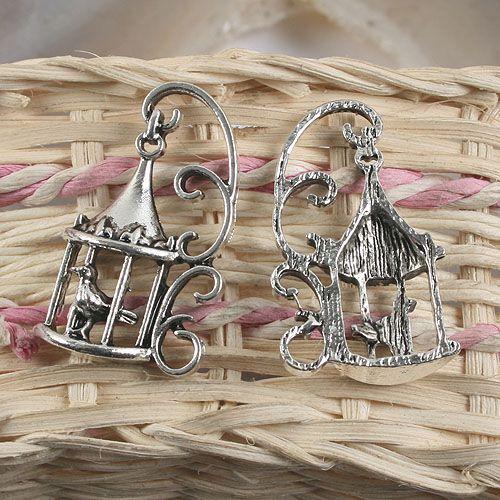 4pcs antiqued silver bird cage  pendant charm G957