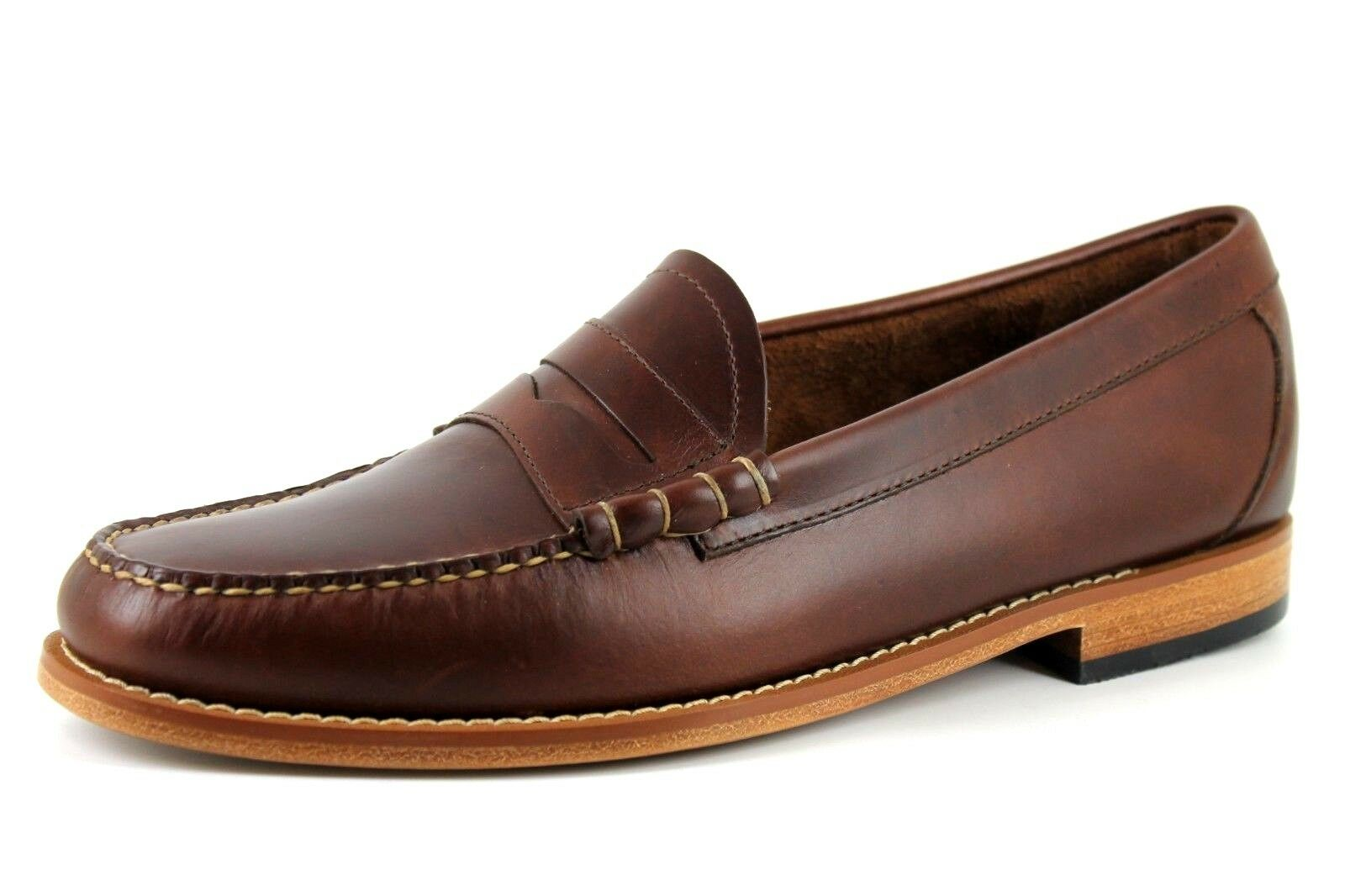Weejuns G.H.Bass & Co Larson Mens Dark Brown Leather Penny Loafer shoes