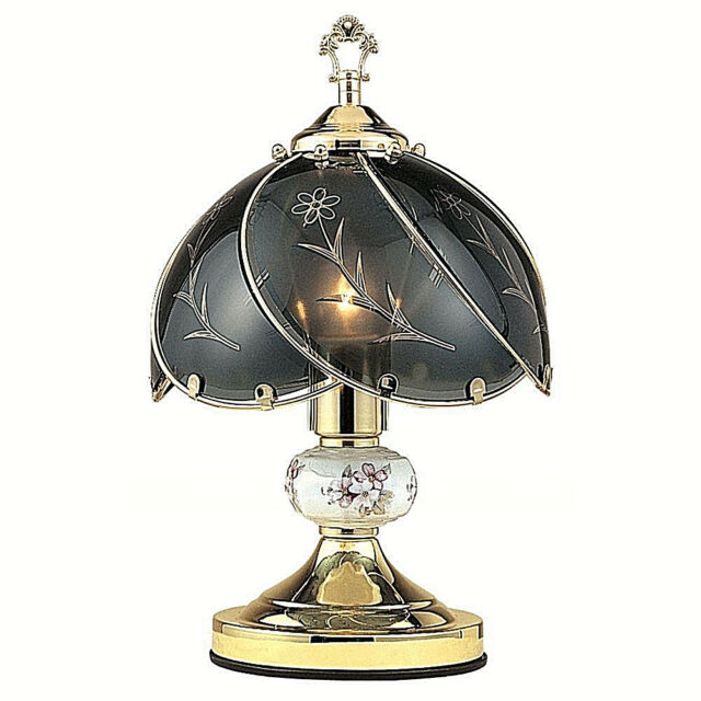 LED BULB Black Smoke glass Floral Glossy Gold finish 3 way Touch Lamp -14in H