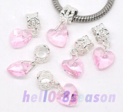 30 Crystal Glass Heart Dangle Beads Fit Charm Bracelet