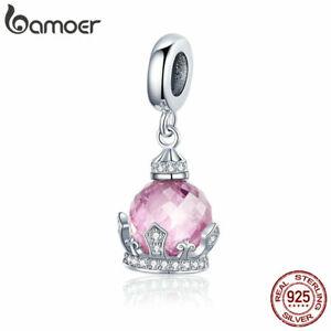 BAMOER-New-S925-Sterling-silver-Women-Charms-Pink-crown-amp-CZ-Dangle-Fit-Bracelet