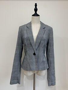 REVIEW-Size-12-BNWT-Grey-Checkered-Blazer-Jacket-RRP-259
