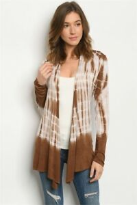 New-USA-Boho-Tie-Dye-Brown-Long-Sleeve-Open-Front-Western-Cardigan-S-M-L
