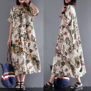 Women-Cotton-Ethnic-Long-Maxi-Dress-Floral-Print-Casual-Party-Kaftan-Full-Dress
