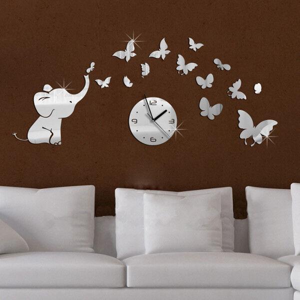 3D DIY Elephants Butterflies Mirror Wall Decal Wall Clock Sticker Art Decoration
