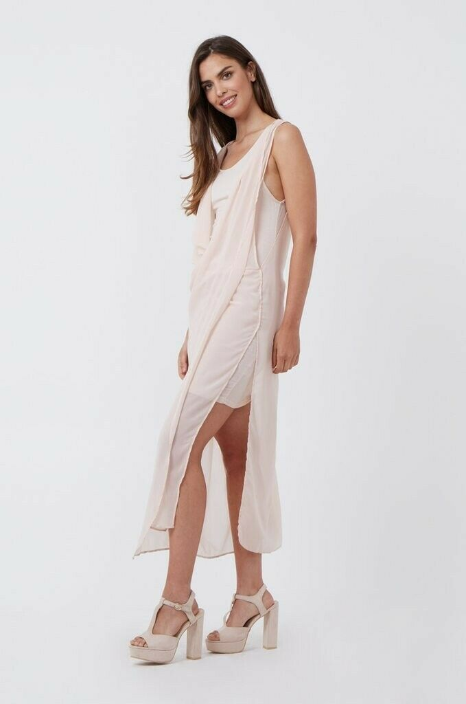 BNWT Ladies Womens Pink Double Layer Wrap Front Dress Summer Party Boho Nude