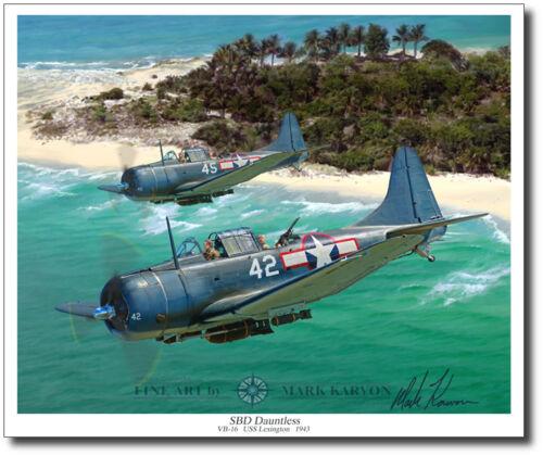 Slow but Deadly Aviation Art Prints SBD Dauntless by Mark Karvon WWII Decor