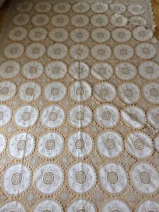 Antique-1800s-Bed-Throw-Cover-Linen-amp-Lace-Panels-Double-Bedspread-Sham-Pristine
