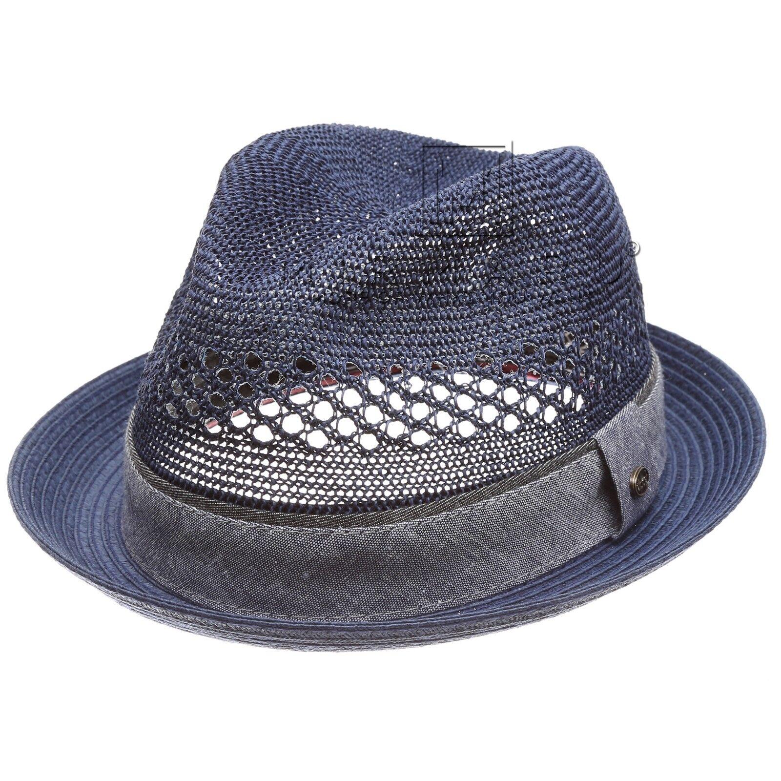 Men's Summer Trilby Straw Vented Mesh Crown Crushable Trilby Summer Short Brim Fedora Hat Cap 3e438d