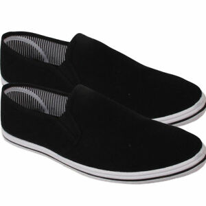 Mens-Canvas-Shoes-Slip-On-Casual-Sports-Comfortable-Plimsoll-Trainer-Pumps-Size