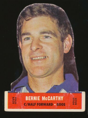 1969 Scanlens Die Cut Bernie McCarthy North Melbourne Kangaroos Popped Card