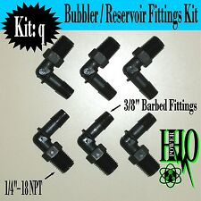 "(6) Nylon Fittings 1/4""- 18 NPT to 3/8"" Barb Fittings: HHO/ Bubbler Reservoir"