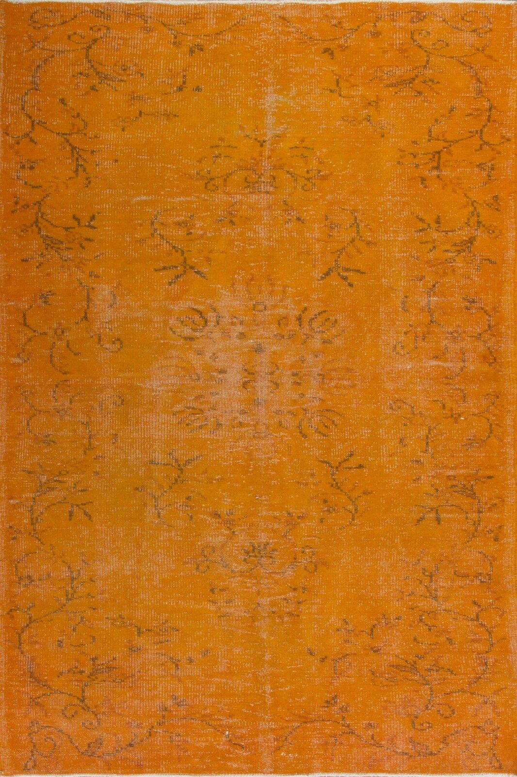 4.3 X8 ft (130x240 Cm) Color Naranja Overdyed Vintage Hecho A Mano Turca Alfombra C36