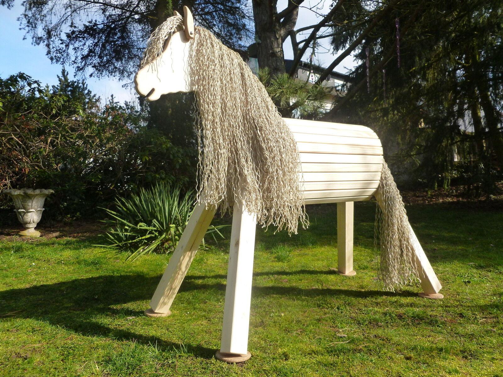100cm Holzpferd Pony Voltigierpferd Pferd Spielpferd wetterfest lasiert NEU