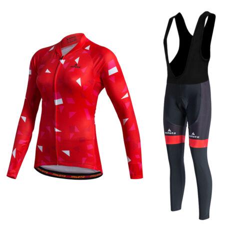 Red Women/'s Cycling Bib Kit Long Sleeve Cycling Jersey /& Bib Tights Pants Set