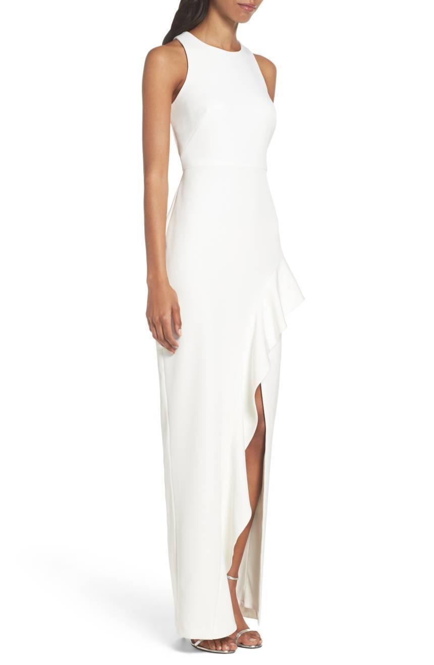 NEW  228 Xscape Ruffle Column Gown Ivory [Size [Size [Size 2 ]  M689 edbad2