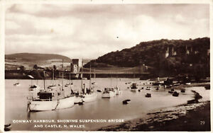 R209387 Conway Harbour. Showing Suspension Bridge And Castle. N. Wales. RP