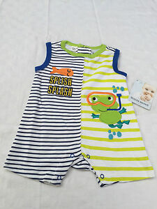 3ad6c5c7 Details about Buster Brown Baby Boys Romper Frog Size 0000 (0-3 Months)