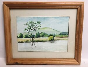 Vintage-Watercolour-Country-Scene-Lake-By-Trees-Hill-Mounted-Framed-Painting