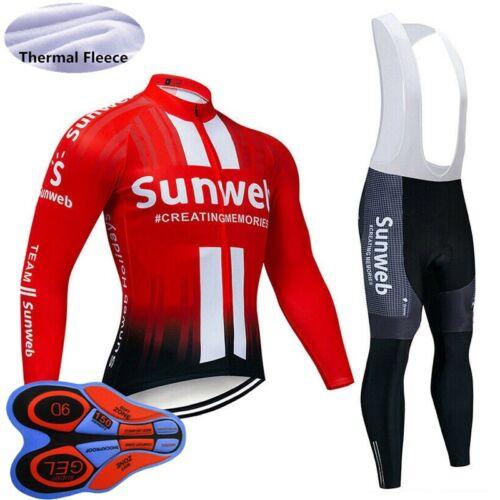 2019 Winter mens Cycling jersey set thermal fleece MTB bike shirt bib pants Suit