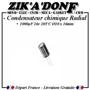 Condensateur-Chimique-1000-F-16V-Radial-105-C-1000MF1000uF-10x16mm-Qte-au-choix