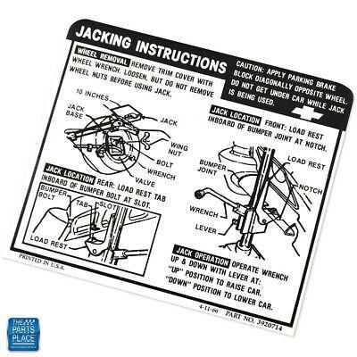 63 IMPALA SEDAN//HARDTOP JACK INSTRUCTIONS DECAL GM# 3825808