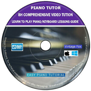 Learn to Play Piano Keyboard 8H Comprehensive Video Tution Lessons PC Mac DVD