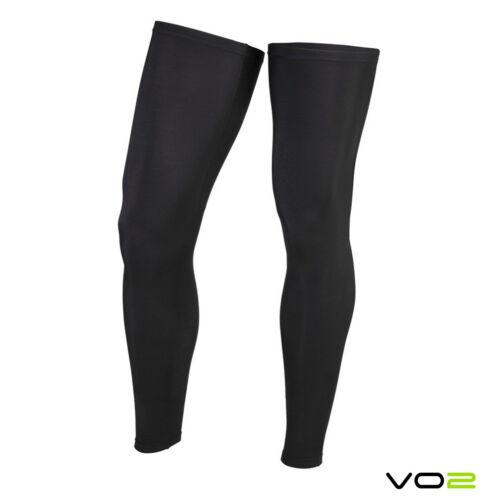 VO2 Black Cycling Leg Warmers Gripper Italian Carvico Compression Fabric