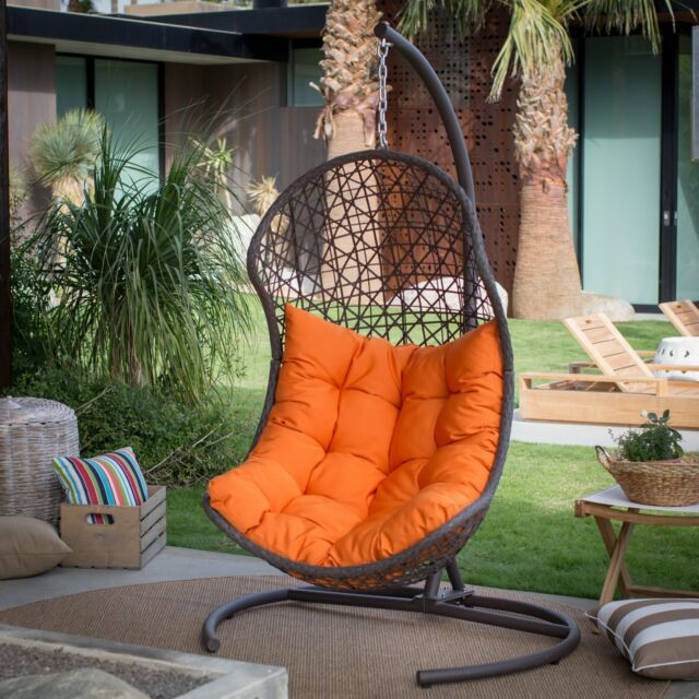 Hanging Chair Set Brown Wicker Egg Wicker W/ Cushion Patio Lounge Chair Boho