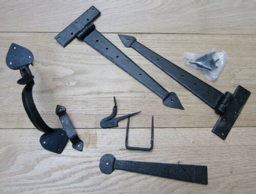 latch set old English cottage style Pair of HAND FORGED IRON door t tee hinges