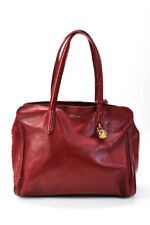 Alexander McQueen Leather Skull Padlock Satchel Handbag Red