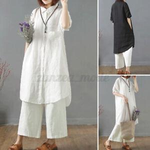 ZANZEA-Women-Cotton-Short-Sleeve-Baggy-Tops-Casual-Holiday-Long-Tee-Shirt-Blouse
