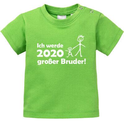 """Baby T-shirt Kurzarm Bedruckt """"ich Werde 2020 Großer Bruder"""" 100% Bio Baumwolle"""