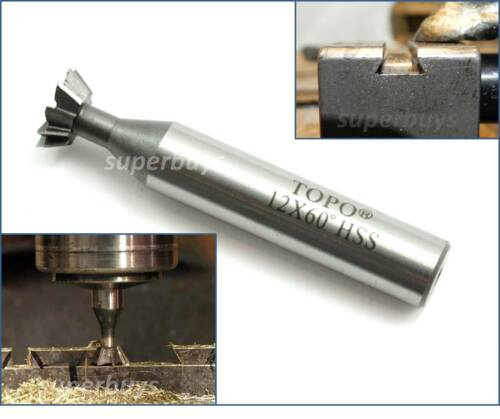 12mm End Mill Dovetail Cutter 60 Degree HSS Flute Metalwork Cutting Endmill Tool