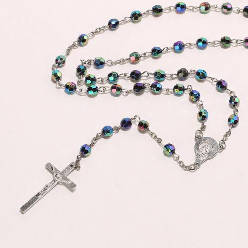 Charm Rainbow Color Beads Mary Jesus Crucifix Saints Cross Women Necklace New