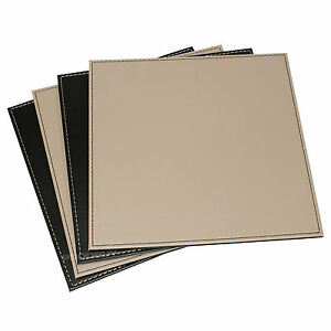 Bon Image Is Loading Reversible Flip 8 Placemats Black Taupe Square Faux