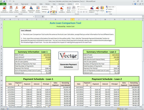 Auto Loan Calculator and Auto Loan Comparison Tool Excel Spreadsheet