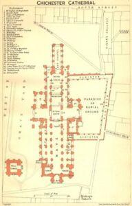 Sussex. Chichester Cathédrale 1924 Ancienne Vintage Carte Plan Graphique-afficher Le Titre D'origine Limpide à Vue