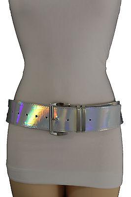 Abile Moda Donna Cintura Fianchi Vita Lucido Metallizzato Similpelle Fibbia D'argento Fresco In Estate E Caldo In Inverno