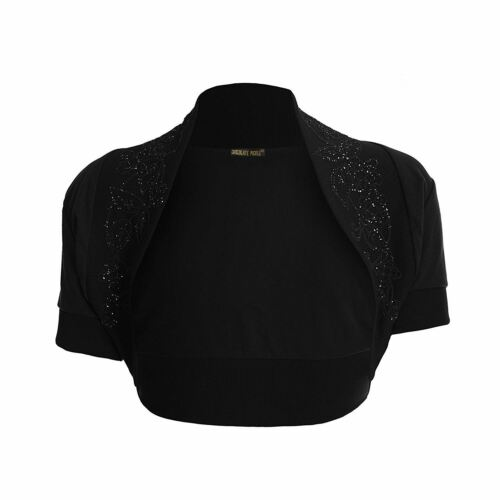 New ladies Plus Size Cropped Black Sequin Detail Bolero Shrug Cardigan Top 8-26