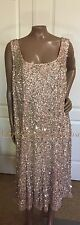 Plus 20W Adrianna Papell Beaded Sequin Cap Sleeve Sheath Dress Champagne/Gold