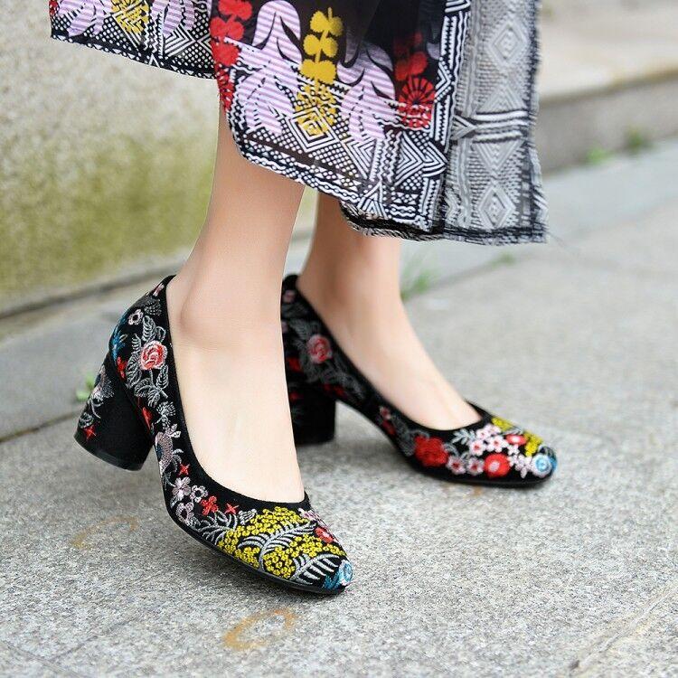 clásico atemporal Zapatos De Cuero Cuero Cuero Moda para Mujer Punta rojoonda Bordado Bloque Medio Tacones Fiesta Talla  diseños exclusivos