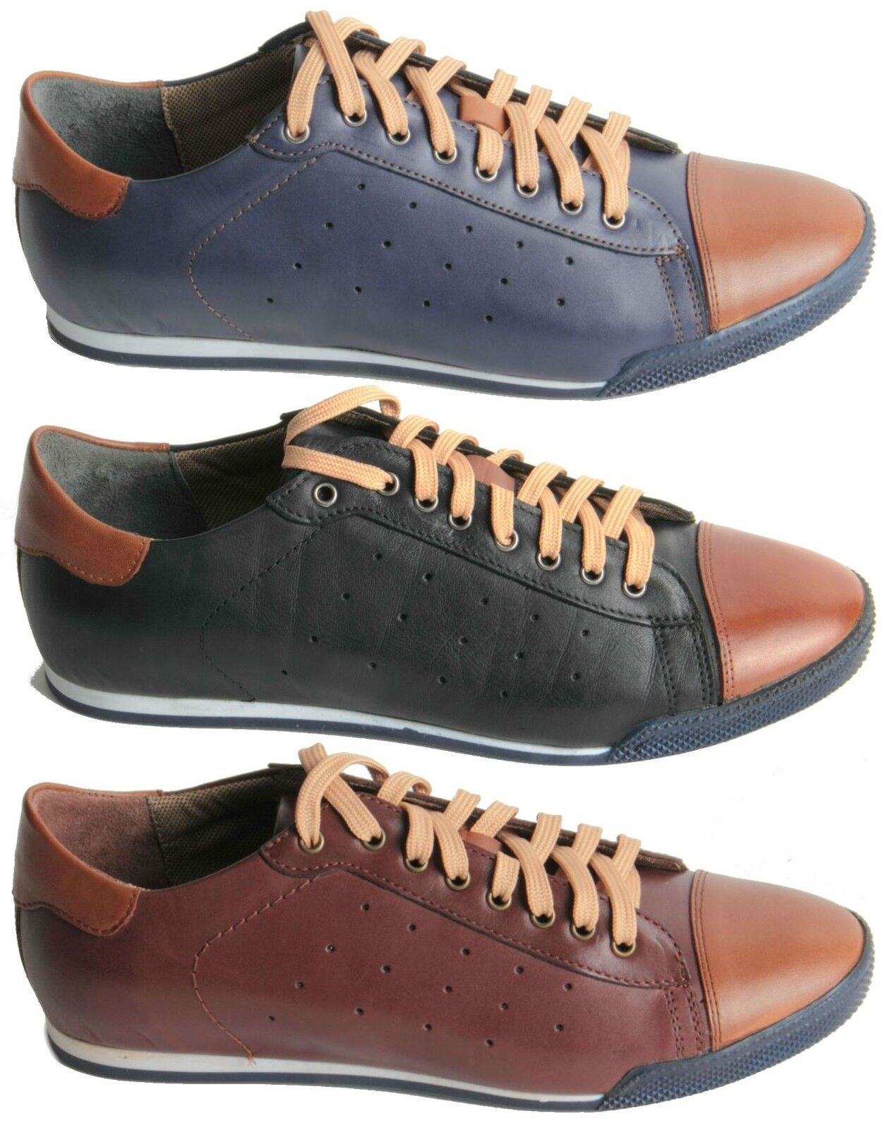 Mens Shoes Genuine Leather Lace Up Capped Toe Trainers Decorative Sole Shoes