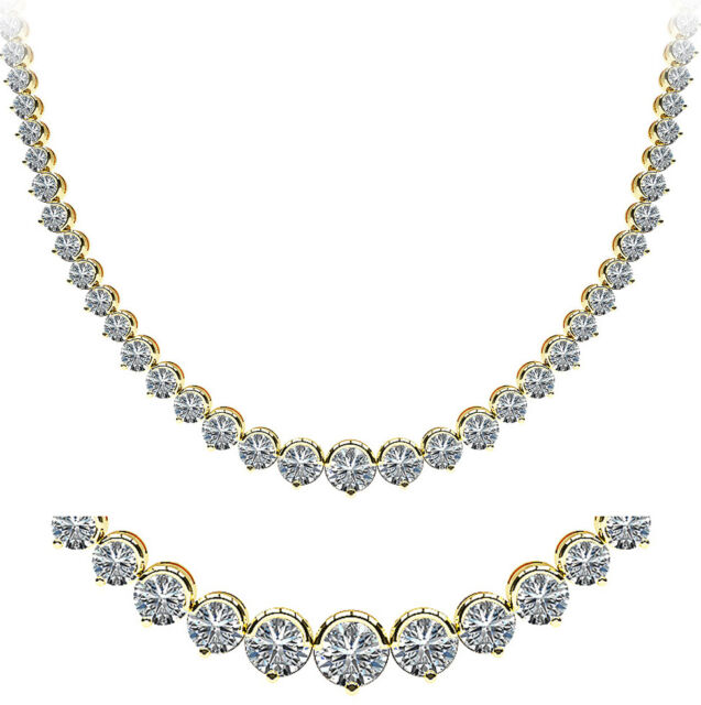 9.45 ct Round Diamond Graduated Tennis Necklace 14K Yellow Gold half bezel set